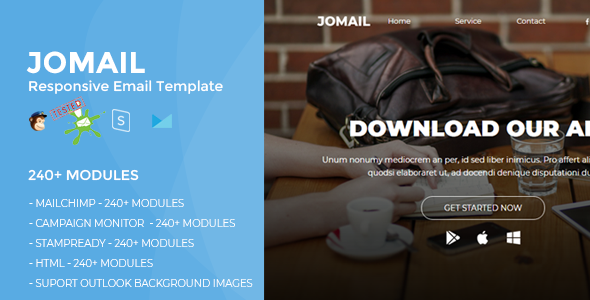 JOMAIL - Responsive Email Template (230+ Modules) + Online Stampready Builder - Newsletters Email Templates