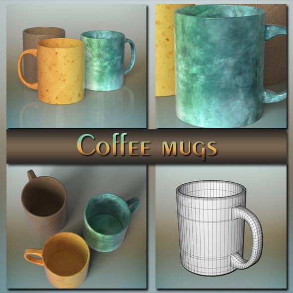 Coffee mugs - 3DOcean Item for Sale