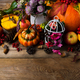 Fall arrangement with white birdcage and pumpkin - PhotoDune Item for Sale