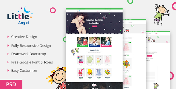 LittleAngel - Store eCommerce PSD Template - Children Retail