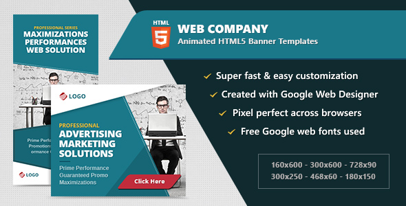 HTML5 Animated Banner Ads - Web Company (GWD) - CodeCanyon Item for Sale