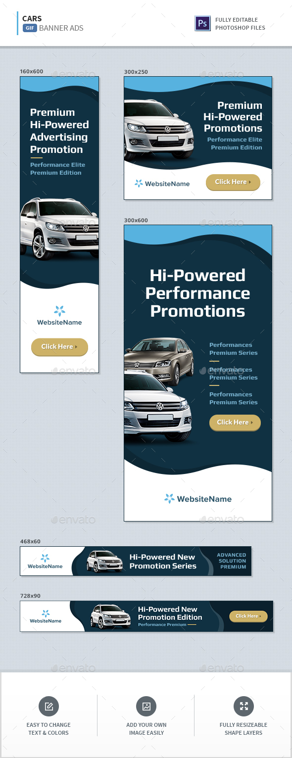 Cars Animated Banners - Banners & Ads Web Elements