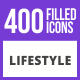 400 Lifestyle Filled Blue & Black Icons