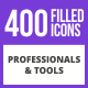 400 Professionals & their tools Filled Blue & Black Icons