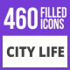 460 City Life Filled Blue & Black Icons - GraphicRiver Item for Sale