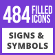 484 Signs & Symbols Filled Blue & Black Icons - GraphicRiver Item for Sale