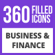 360 Business & Finance Filled Blue & Black Icons - GraphicRiver Item for Sale