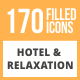 170 Hotel & Relaxation Filled Round Icons - GraphicRiver Item for Sale