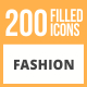 200 Fashion Filled Round Icons - GraphicRiver Item for Sale
