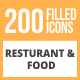 200 Restaurant & Food Filled Round Icons - GraphicRiver Item for Sale
