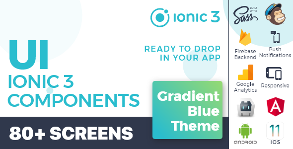 Ionic 3 / Angular 6 UI Theme /  Template App - Multipurpose Starter App - Gradient Blue Light            Nulled