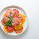 Tomato sliced on a plate. Top view - PhotoDune Item for Sale
