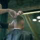 Professional Woman Barber Is Doing a Haircut for Stylish Male Client with Scissors at Barber Shop - VideoHive Item for Sale