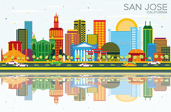 San Jose California Skyline with Color Buildings - Buildings Objects