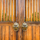 traditional style wooden doors and door knocker - PhotoDune Item for Sale