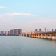 beautiful jiujiang city landscape ,lake and bridge in sunset,  China - PhotoDune Item for Sale