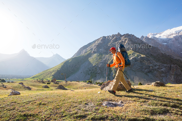 Hike in Fann mountains - Stock Photo - Images