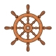 Wooden Ship Wheel on White Background