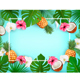 Summer Tropical Background With Exotic Palm Leaves And Flowers And Coconut. Vector - GraphicRiver Item for Sale