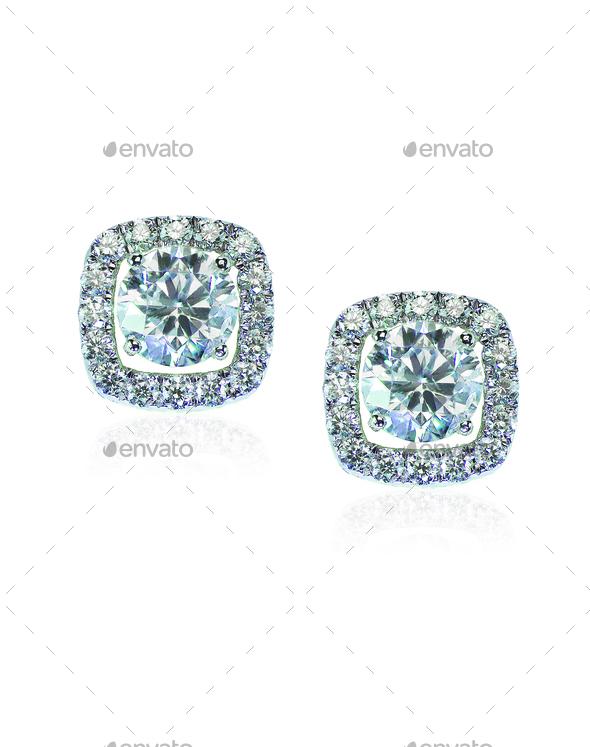 Beautiful Halo Diamond Stud earrings with reflection - Stock Photo - Images