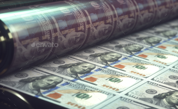 Printing US Dollar Bills - Stock Photo - Images
