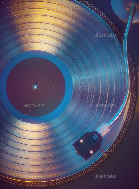 Colorful Vinyl Retro Music - Stock Photo - Images