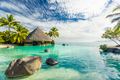 Infinity pool with palm tree rocks, Tahiti, French Polynesia - PhotoDune Item for Sale