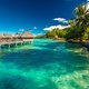 Over water bungalow with steps into amazing lagoon, Moorea - PhotoDune Item for Sale
