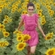Girl in Pink Dress Walking on the Field - VideoHive Item for Sale