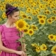 Girl in Pink Dress Holding Sunflower - VideoHive Item for Sale