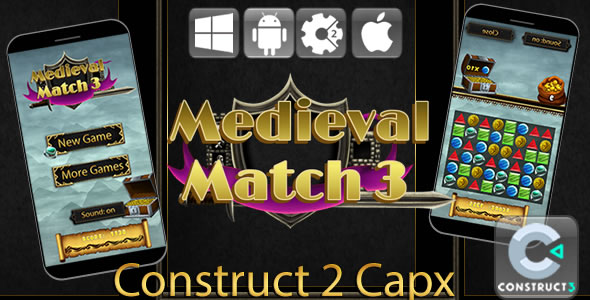 Medieval Match 3 - HTML5 Game (Capx) - CodeCanyon Item for Sale