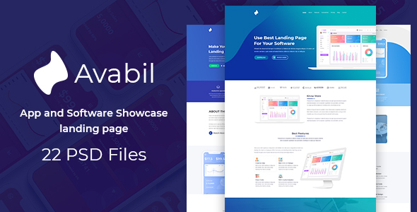 Avabil - App and Software Showcase landing page