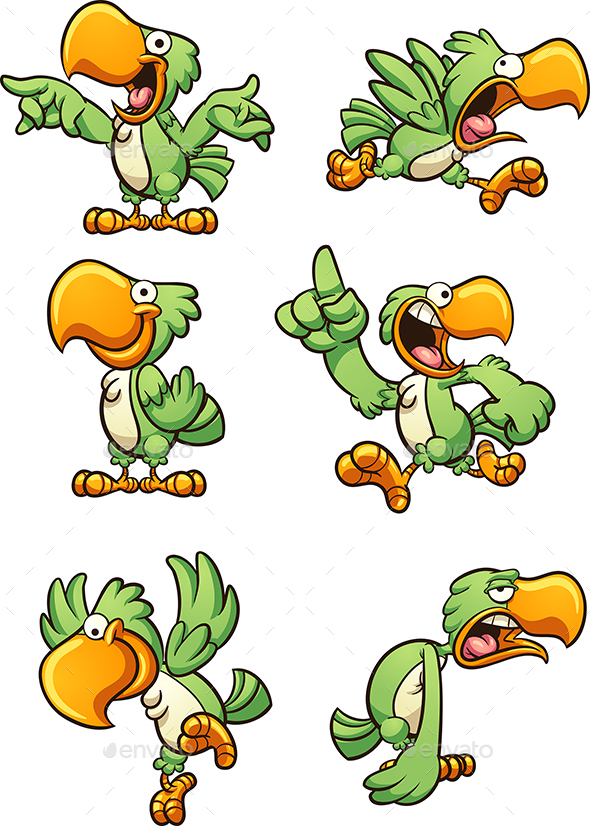 Green Parrot - Animals Characters