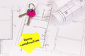 Home keys, house shape with text home construction and electrical diagrams, building home concept - PhotoDune Item for Sale