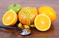 Stethoscope, fresh fruits and centimeter, concept of slimming, healthy lifestyles and nutrition - PhotoDune Item for Sale