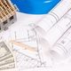 Currencies dollar, electrical diagrams, accessories for engineer jobs and house under construction - PhotoDune Item for Sale