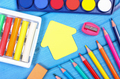 School accessories on blue boards, back to school concept - PhotoDune Item for Sale