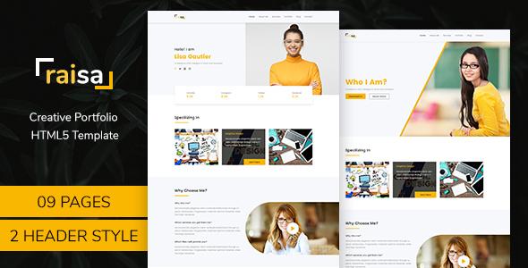 Raisa - Multipurpose Business Agency/Personal Portfolio HTML5 Bootstrap4  Template - Portfolio Creative