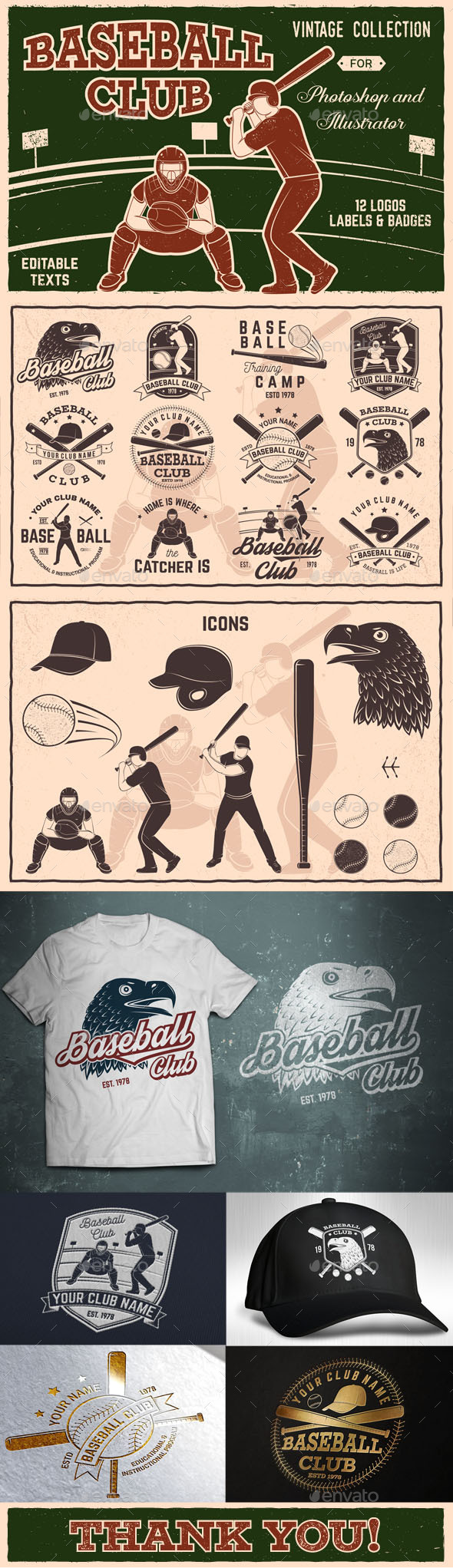Baseball Club Badges Collection - Badges & Stickers Web Elements