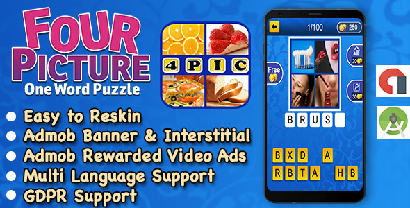 4 Pic 1 Word + Best Kids Trivia Quiz + Ready For Publish + Android Studio + Multi Language            Nulled
