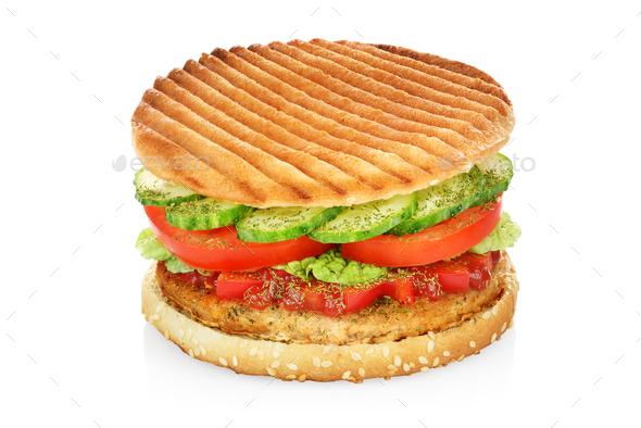 Hamburger isolated on white - Stock Photo - Images