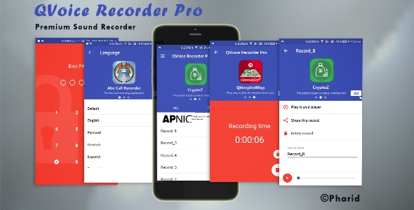 QVoice Recorder Pro - Beautiful UI, Ads Slider, Admob, Firebase Push Notification, Admin Panel            Nulled