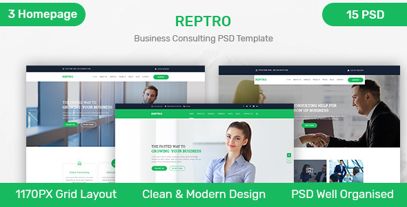 REPTRO – Business Consulting PSD Template - Business Corporate