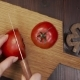 Chef Cuts the Tomato By Sharp Steel Knife on the Wooden Board, Cooking the Salad - VideoHive Item for Sale