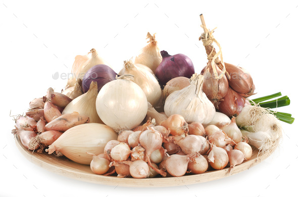 onion, shallots and garlic - Stock Photo - Images