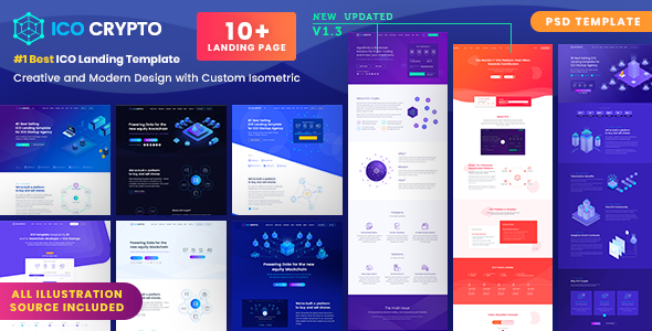 ICO Crypto – Bitcoin and Cryptocurrency ICO Landing Page PSD Template - Marketing Corporate