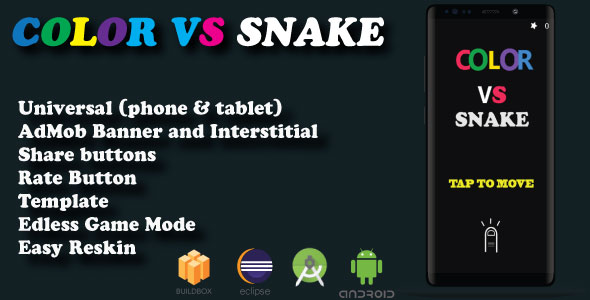 Color vs snake ( Android Studio + Eclipse + Admob + BBdoc )            Nulled