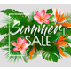 Summer Sale Background With Exotic Leaves and Colorful Flowers - GraphicRiver Item for Sale