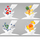 Collection Icons of Fruit in Milk Splash - GraphicRiver Item for Sale