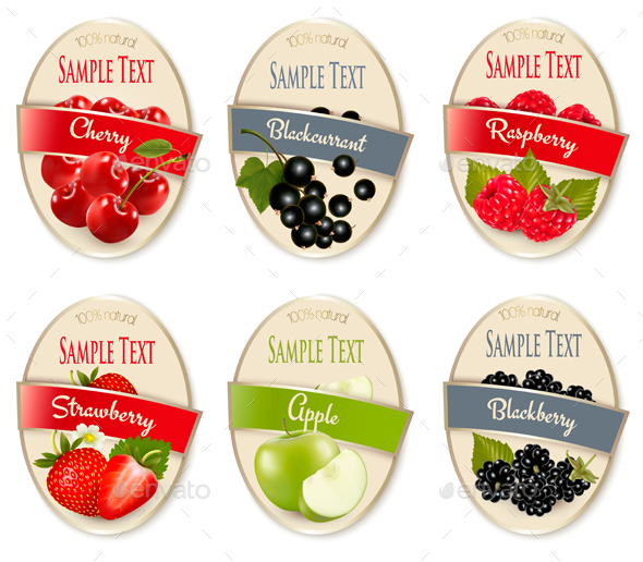 Set of Fruit Labels - Food Objects